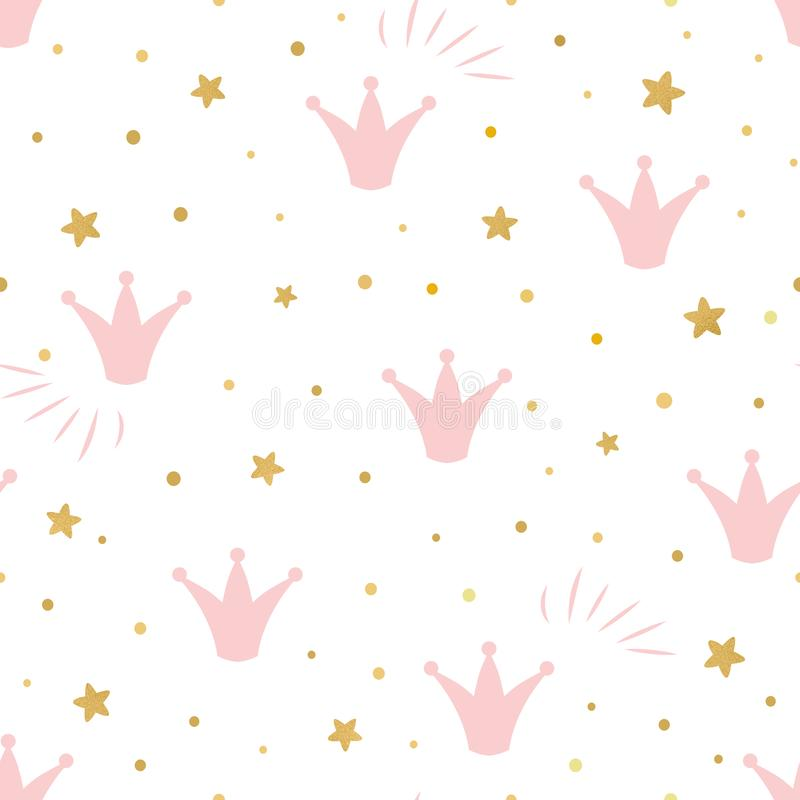 Free Pink Cute Princess Pattern Seamless Background With A Pink Crown Gold Stars On A White Background Vector Royalty Free Stock Images - 129458809