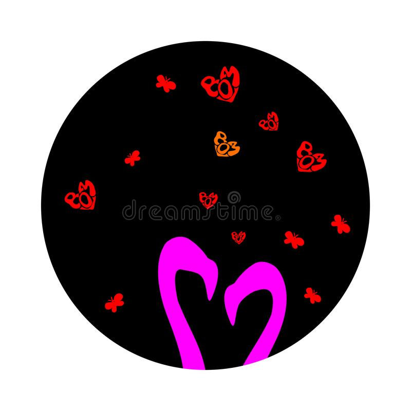 Pink cute two silhouettes flamingos in love is. Vector illustration of cartoon isolated on dark sky. Small Red hearts on Valentine stock illustration