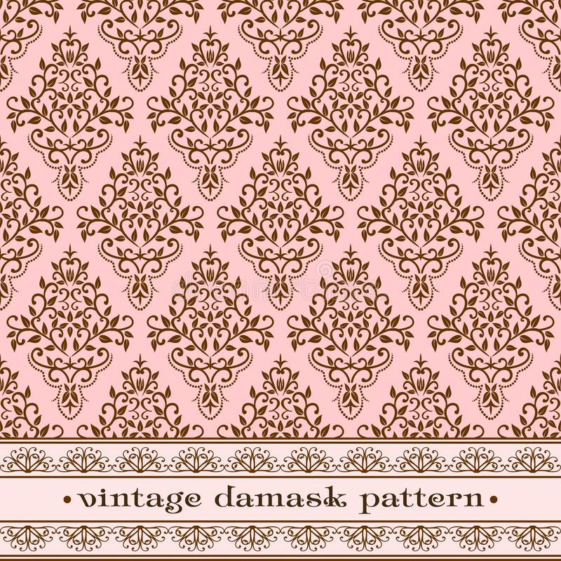 Pink damask pattern royalty free illustration