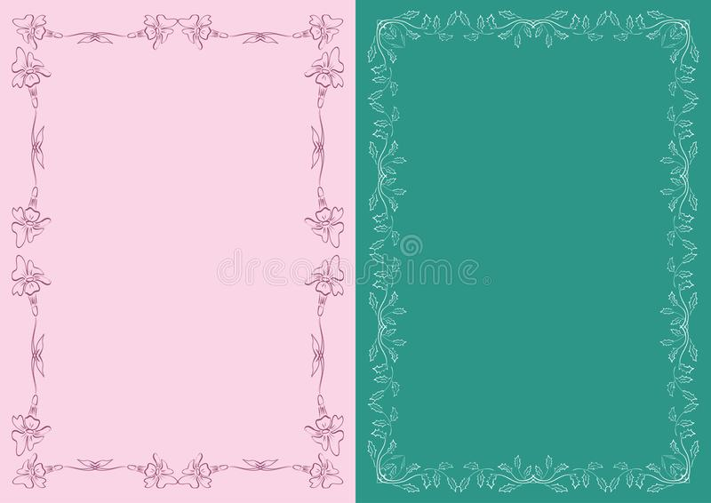 Pink and dark green backgrounds with floral decorative frames - vector decorations vector illustration