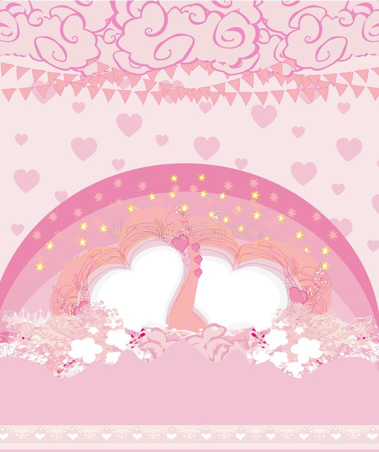 Pink decoration valentine card with hearts and rainbow royalty free illustration