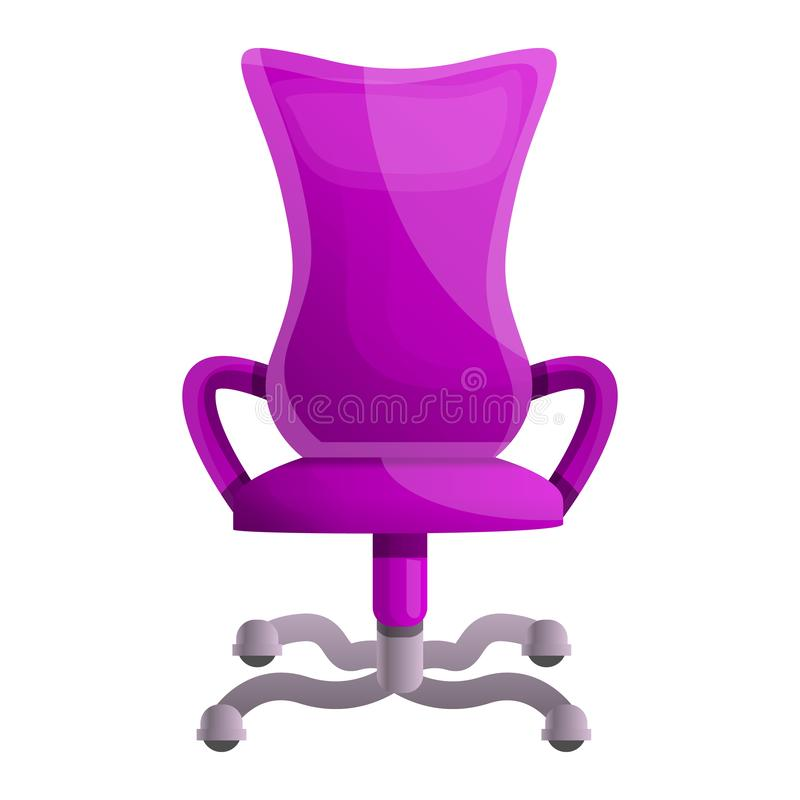 Pink desk chair icon, cartoon style vector illustration