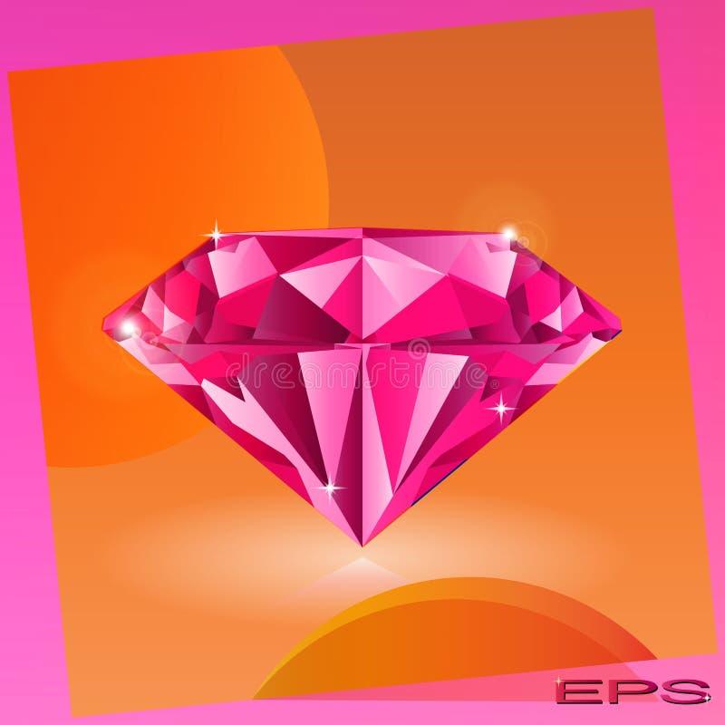 Pink diamond vector illustration