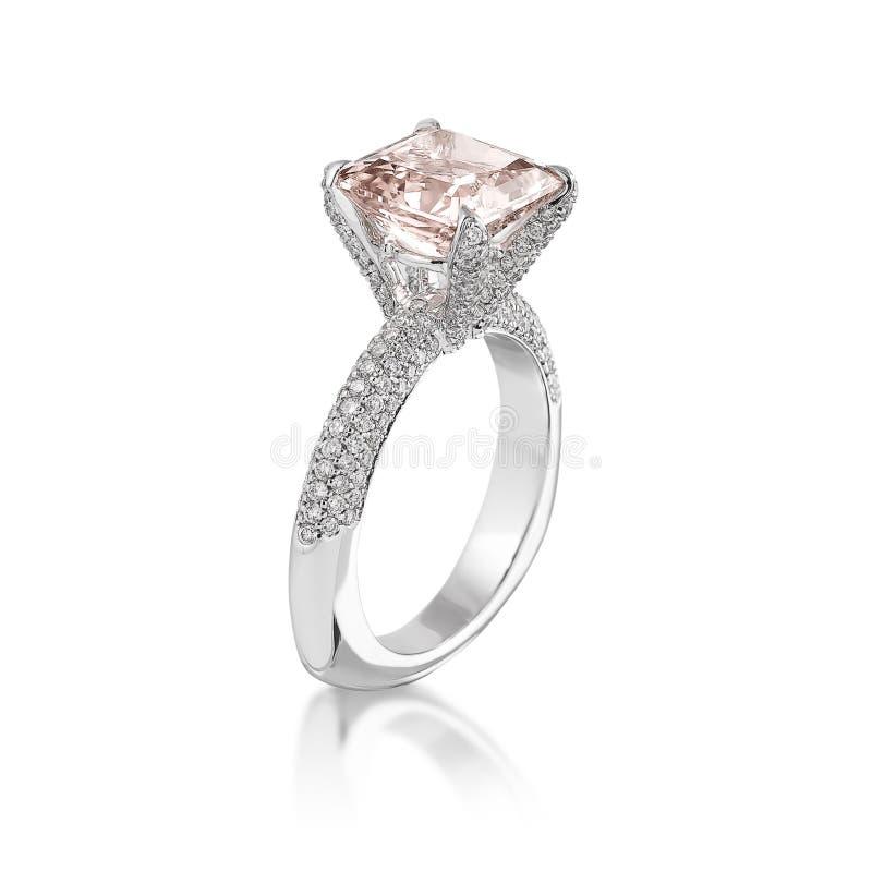 Pink diamond ring. stock image