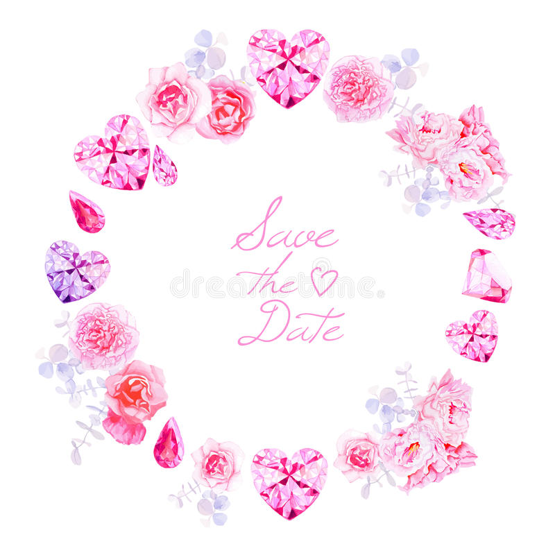 Free Pink Diamonds, Peonies And Roses Round Vector Frame Royalty Free Stock Photography - 56914247