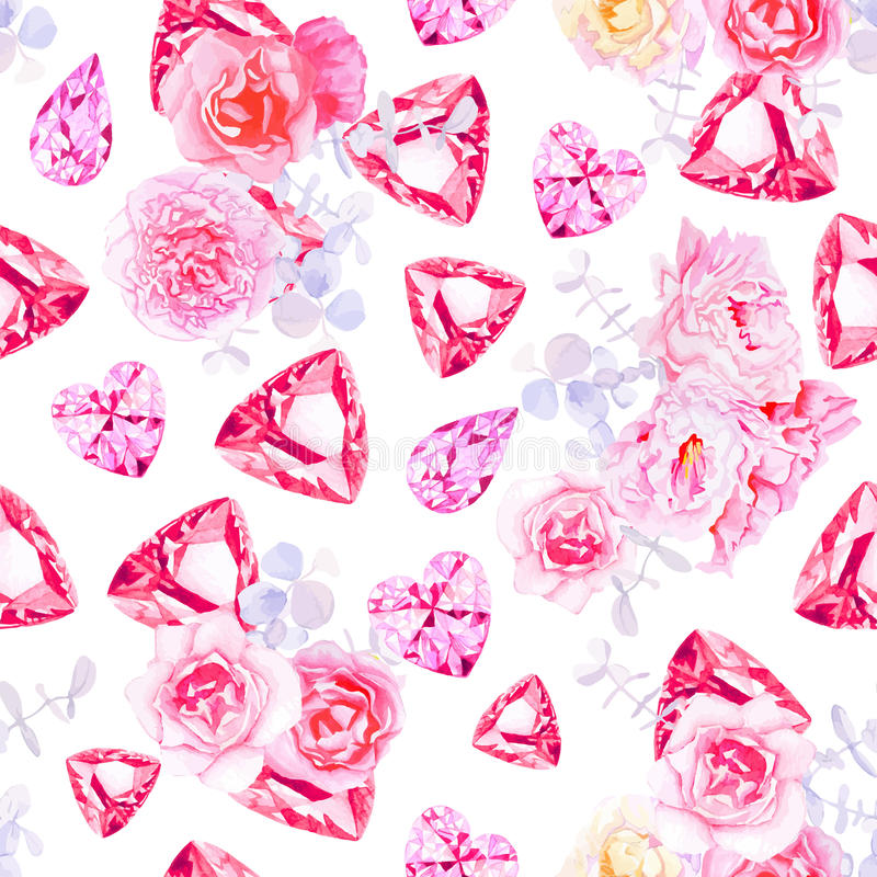Free Pink Diamonds, Peonies And Roses Vector Print Royalty Free Stock Photos - 56913888