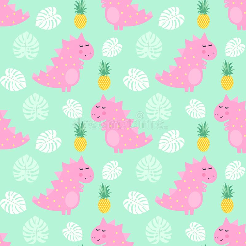 Pink dinosaur with pineapple and palm leaves seamless pattern on mint green background. royalty free illustration