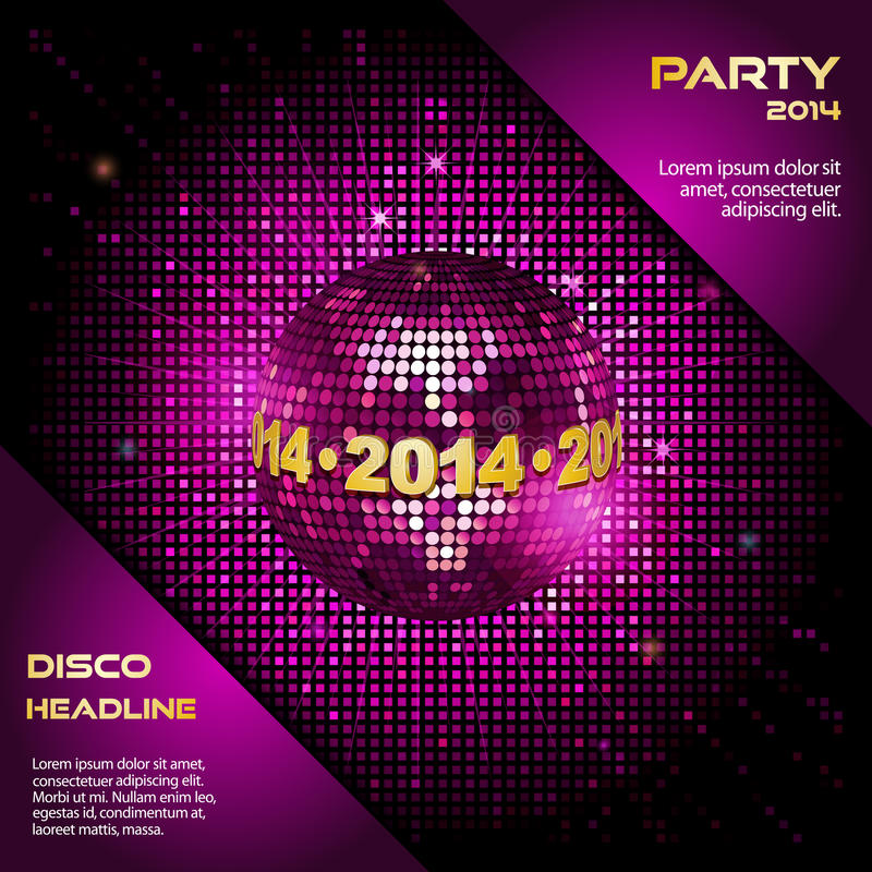 Pink disco ball 2014 party background royalty free illustration