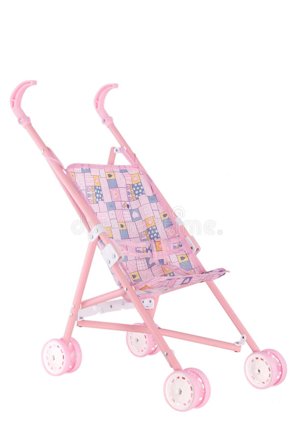 Pink doll pram with wheels