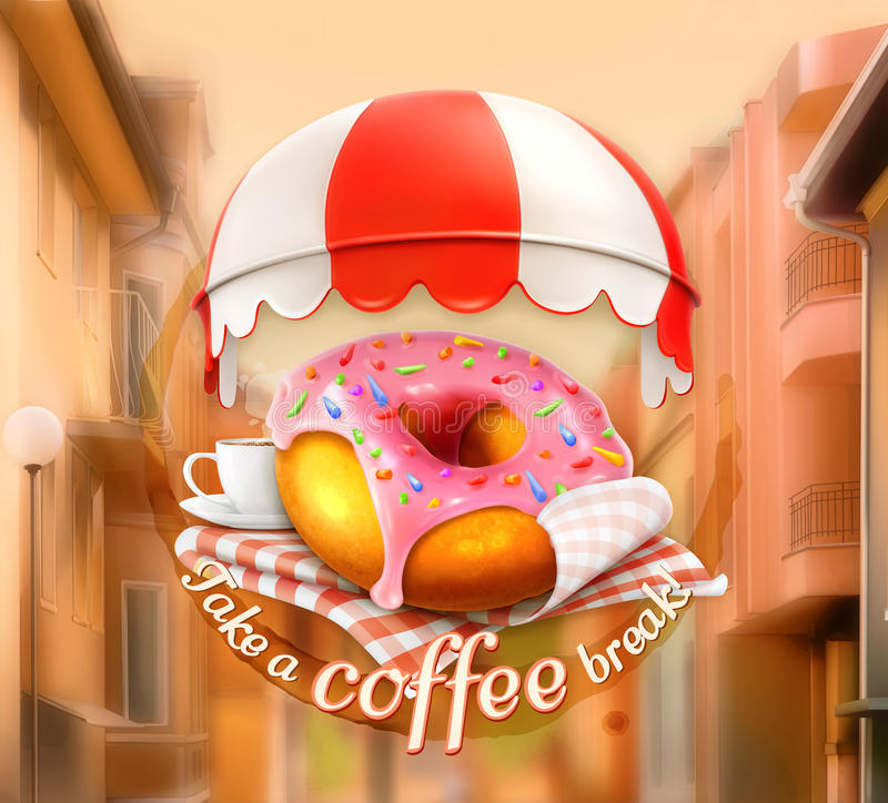 Pink donut and cup of coffee royalty free illustration