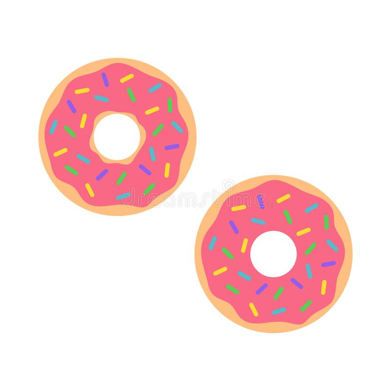 Pink donut. Sweet donut with pink glaze isolated on white background. Vector illustration. stock illustration