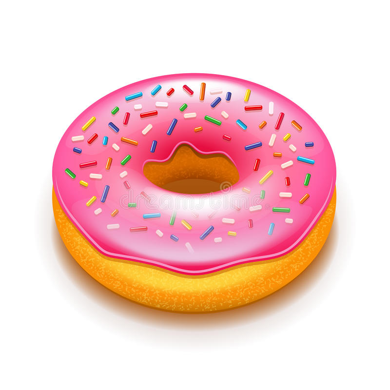 Pink donut on white vector royalty free illustration