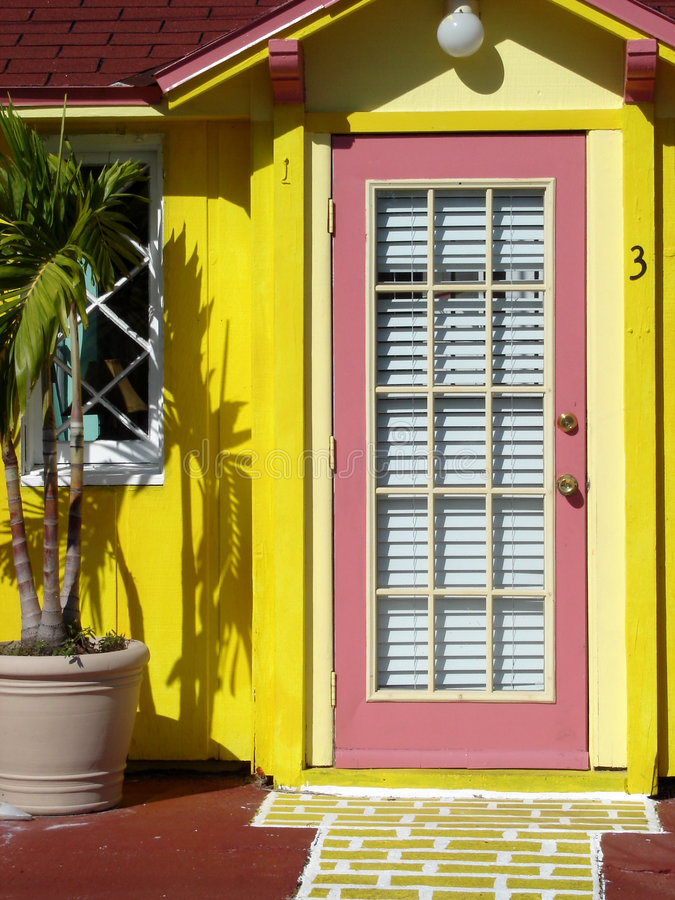 Download Pink door stock photo. Image of yellow, tropical, bright - 355800