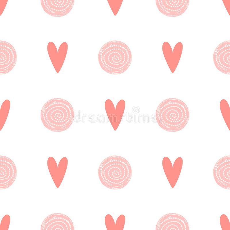 Pink dot pattern heart love seamless background Baby girl simple birthday template Vector fabric design vector illustration