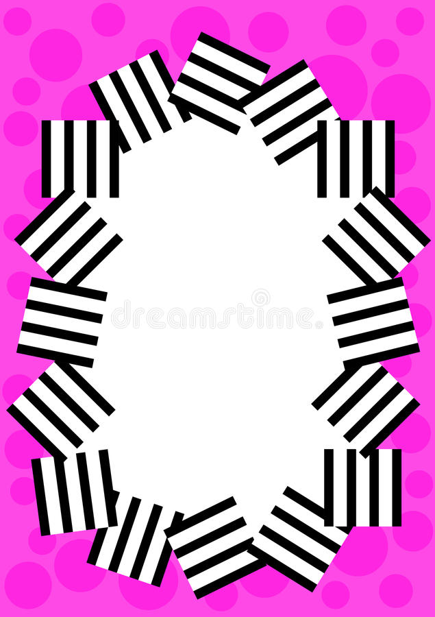 Pink Dots And Stripes Border Frame Stock Illustration - Illustration ...