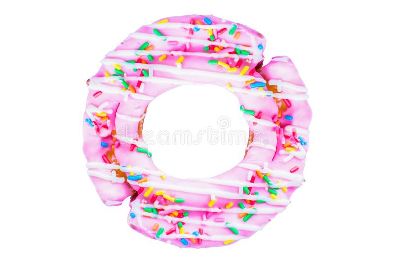 Pink doughnut sugar topping, colorful . candy, snacks, holiday, isolated white background. Top view stock photography