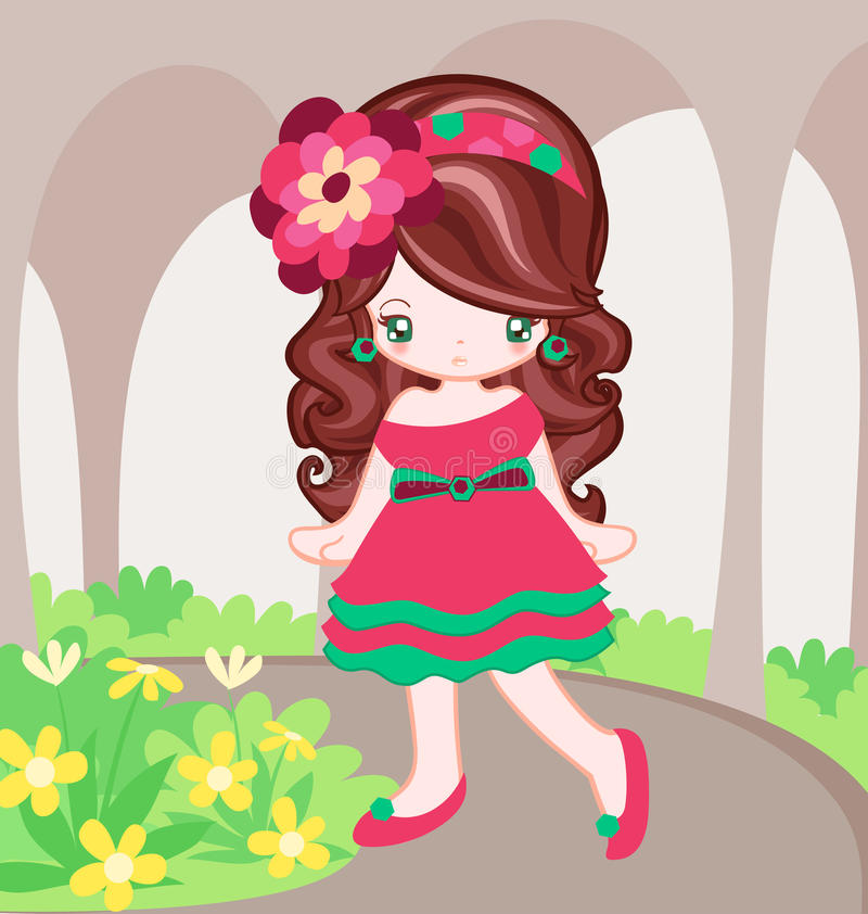 Pink Dress in the garden. Girl dressing up with pink dress and walk in garden vector illustration