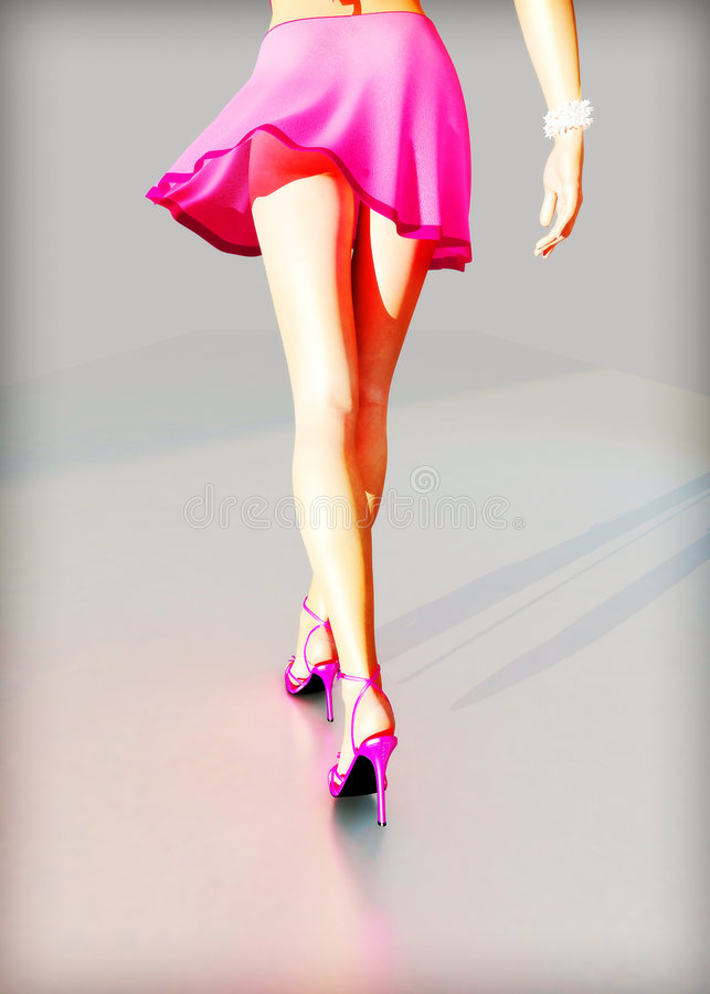Pink dress and high heels. The beautiful girl in a pink dress and high heels stock illustration