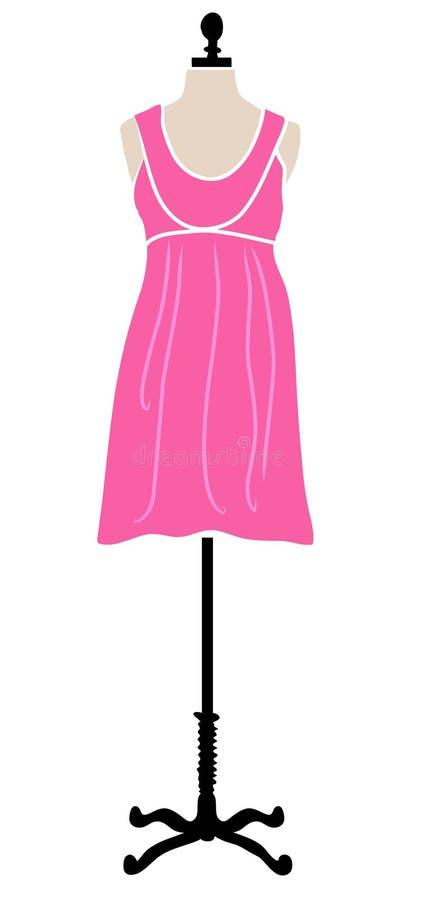Pink dress on mannequin. Illustration of a little pink dress on a old style dress form vector illustration