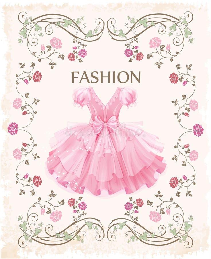 Pink dress. Vintage label with pink dress vector illustration