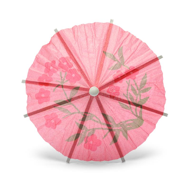 Pink Drink Umbrella Top View. Isolated on White stock images