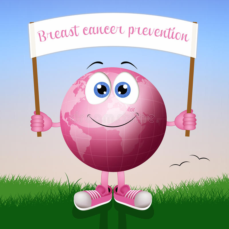 Pink earth for breast cancer prevention. Illustration of Pink earth for breast cancer prevention royalty free illustration