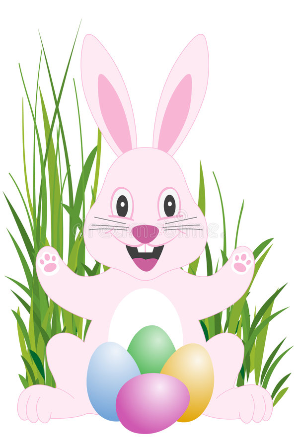 Pink easter bunny. Easter happy bunny and easter eggs in grass