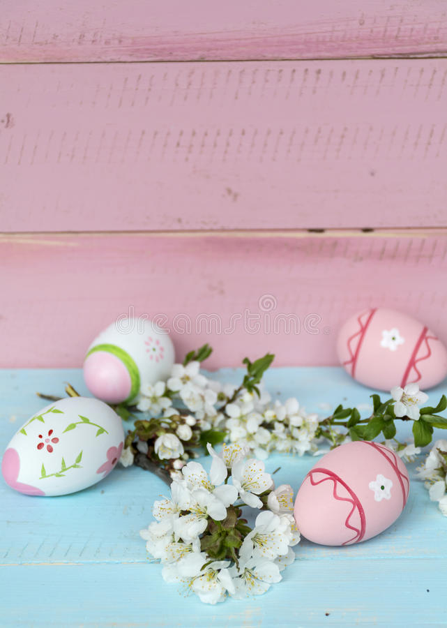 Pink easter eggs and cherry blossoms on a blue wooden background. Pink easter eggs and cherry flowers on a wooden background .Easter decoration stock photos