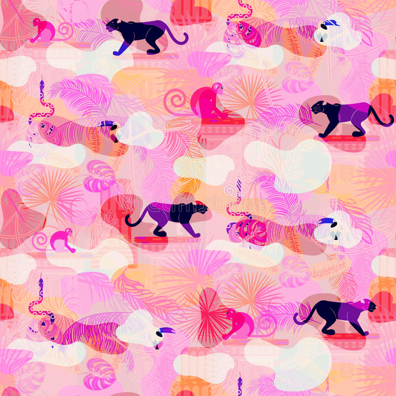 Pink eclectic rainforest wild animals and plants camo seamless pattern. vector illustration