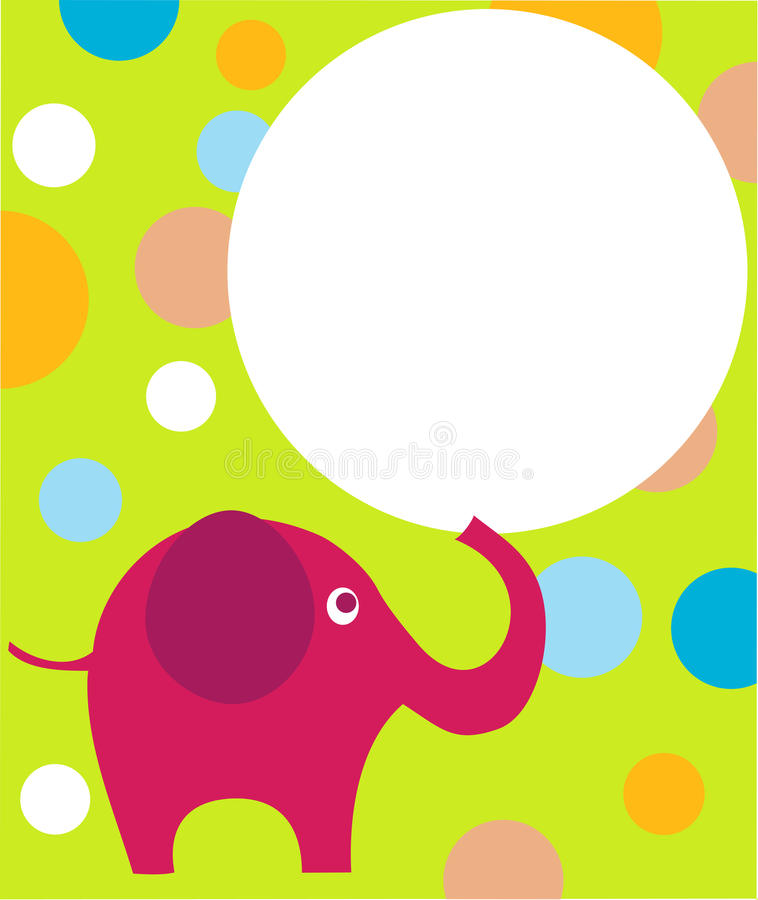 Pink eilephant on colorful background vector illustration
