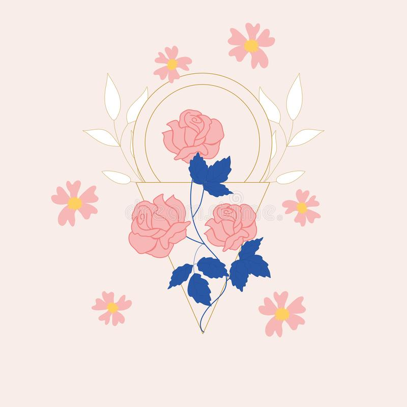 Pink elegant flowers and geometric elements illustration. Perfect to use on the web or in print royalty free illustration