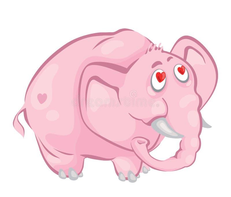 Pink elephant. Funny big pink amorous elephant stock illustration