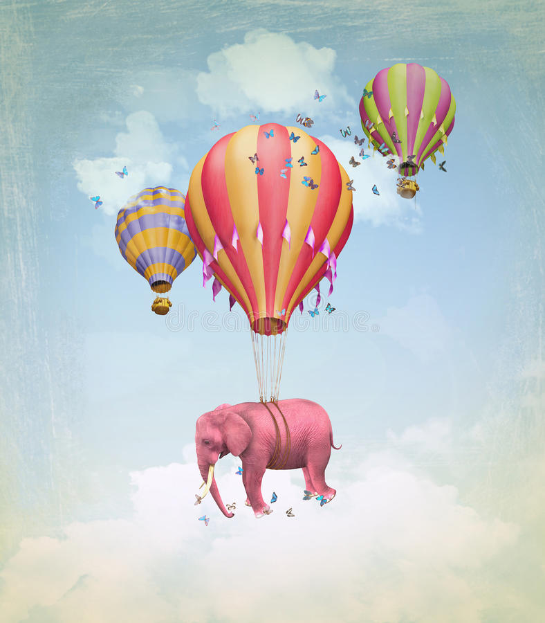Pink elephant in the sky stock illustration