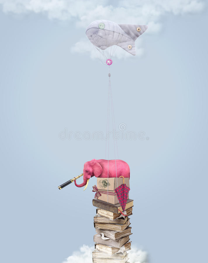 Pink elephant in the sky with books. Illustration royalty free illustration