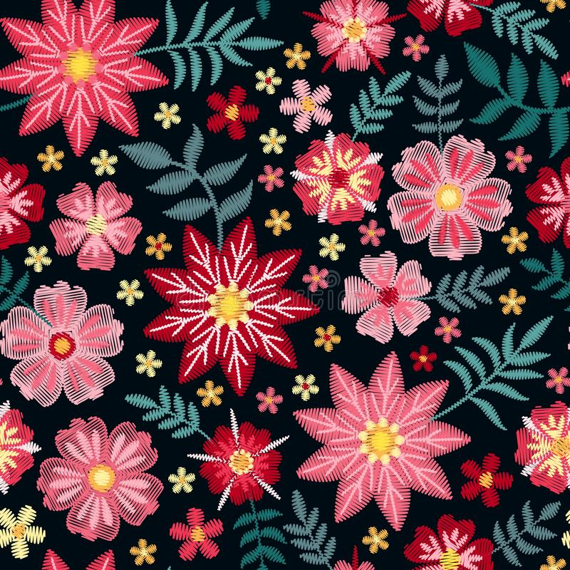 Pink embroidery flowers on black background. Floral seamless pattern. Decorative embroidered print stock illustration