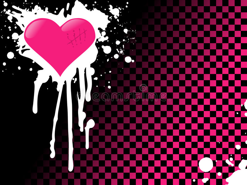 Download Pink emo heart background stock vector. Image of bright - 7344875