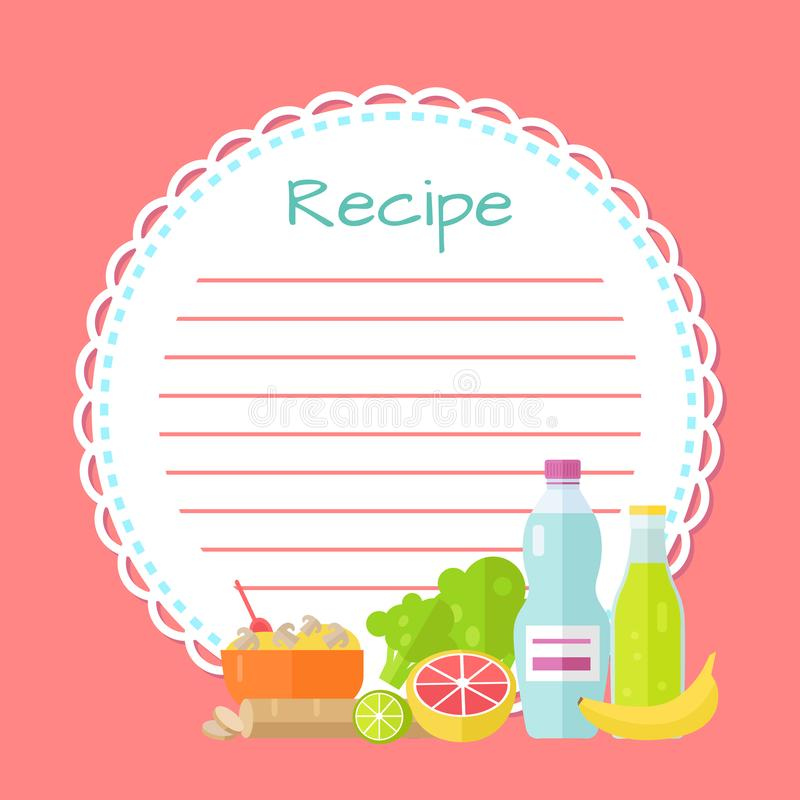 Pink Empty Cookbook, Clean Recipe List Vector. Recipe empty round list decorated by bottles of drink, bowl with mushrooms, lime and orange, green and banana flat stock illustration