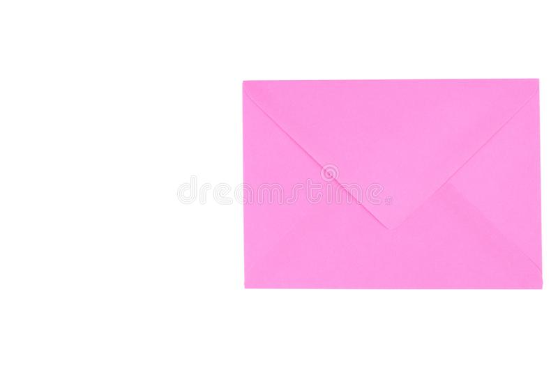 Pink envelope isolated on white background.Copy space. Symbol, clipping, mail, data, sign, office, empty, path, post, postcard, stationery, communication royalty free stock photo