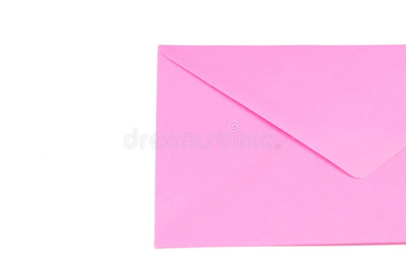 Pink envelope isolated on white background.Copy space. Symbol, clipping, mail, data, sign, office, empty, path, post, postcard, stationery, communication stock photos