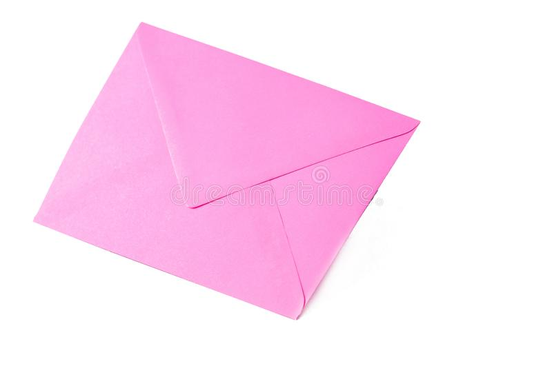 Pink envelope isolated on white background.Copy space. Symbol, clipping, mail, data, sign, office, empty, path, post, postcard, stationery, communication royalty free stock photography
