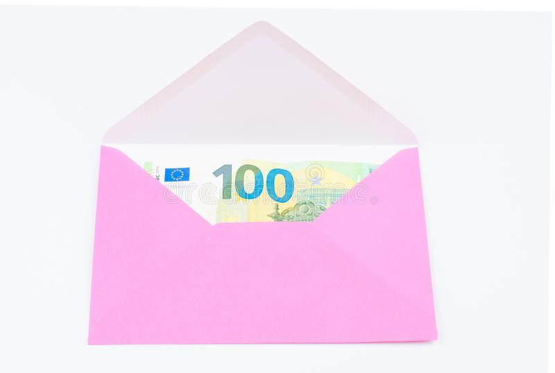 Pink envelope isolated on white background.Copy space. Symbol, clipping, mail, data, sign, office, empty, path, post, postcard, stationery, communication stock image