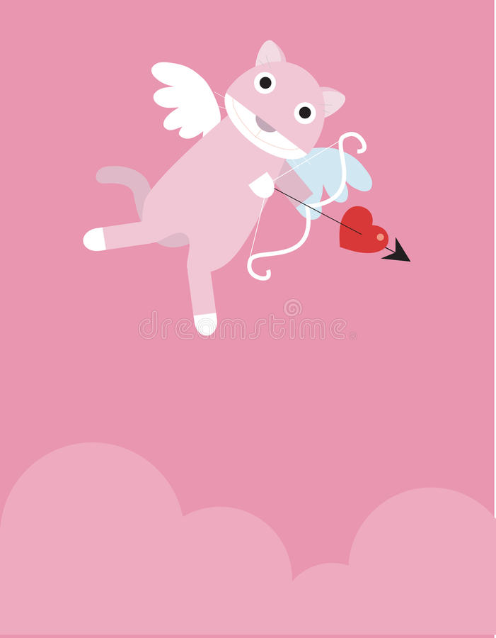 Pink Eros Cat stock illustration