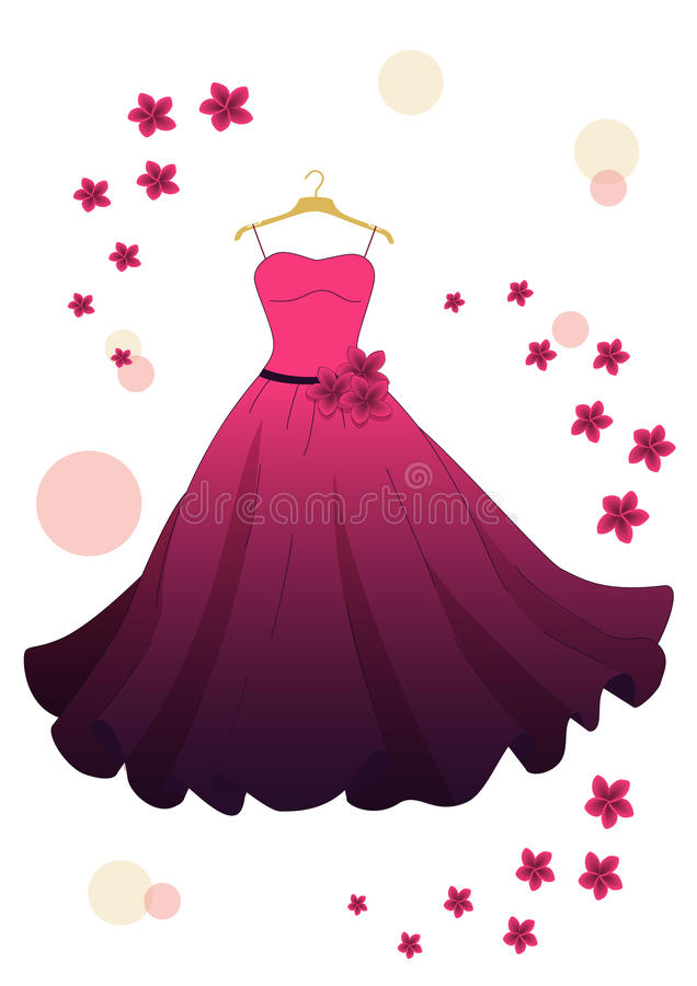 Pink evening dress. Evening pink dress with flowers on hanger isolated on white background stock illustration