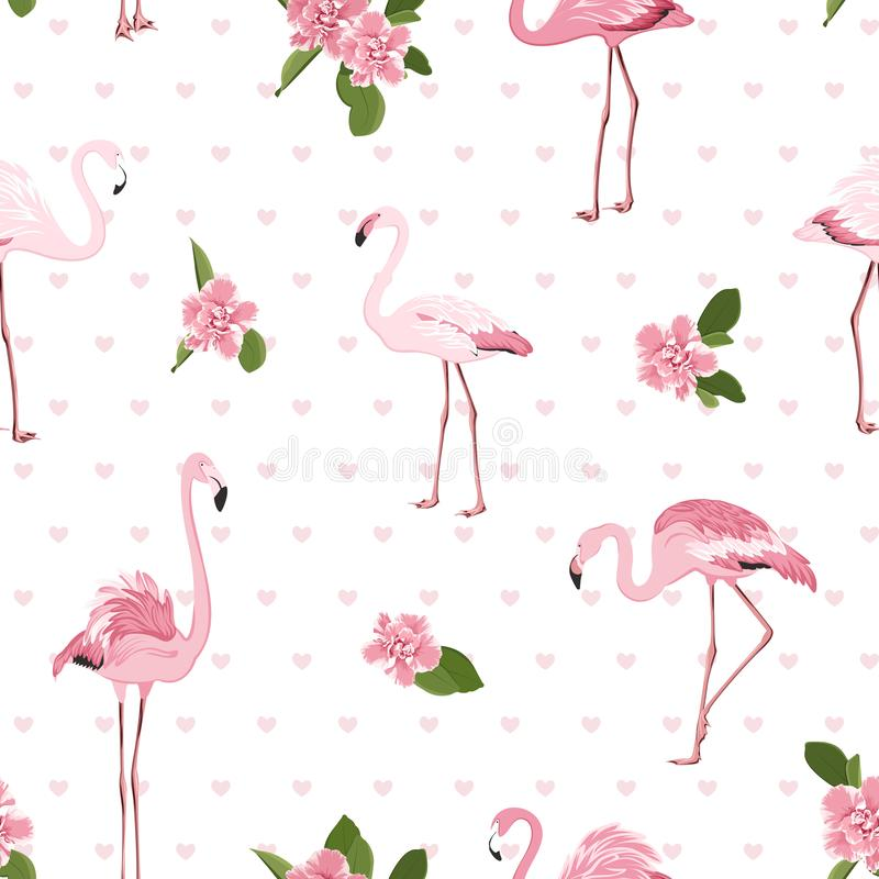 Pink exotic flamingo birds, tropical camelia flowers, green leaves hearts on white background. Stylish seamless pattern. royalty free illustration