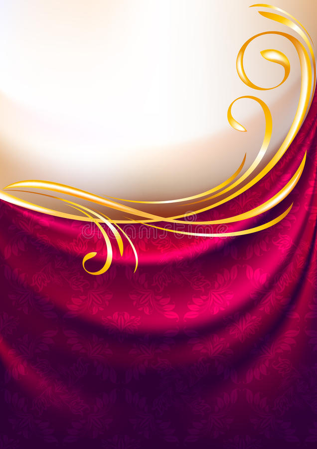Pink fabric curtain with ornament vector illustration