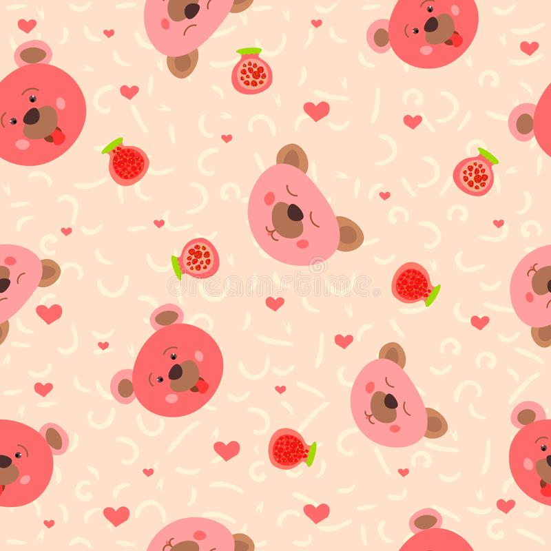 Pink faces cute bears with jam. Wild forest animals. Children`s design. Seamless pattern. illustration. royalty free illustration