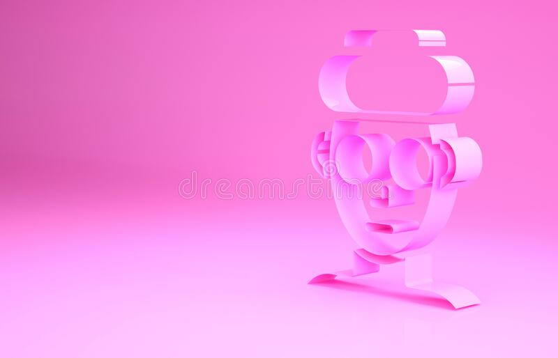 Pink Facial cosmetic mask icon isolated on pink background. Cosmetology, medicine and health care. Minimalism concept. 3d illustration 3D render stock illustration