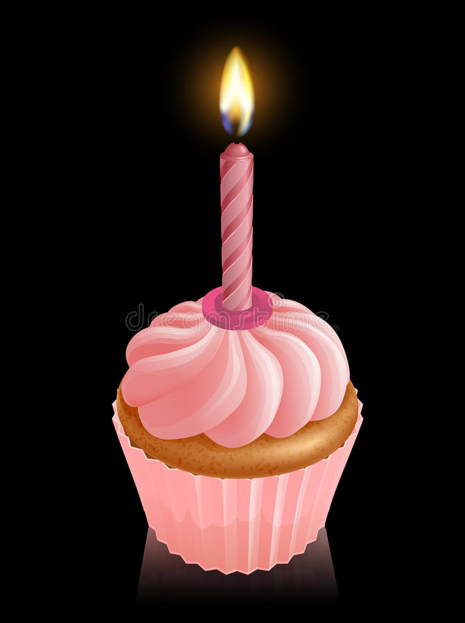 Pink fairy cake cupcake with birthday candle royalty free illustration