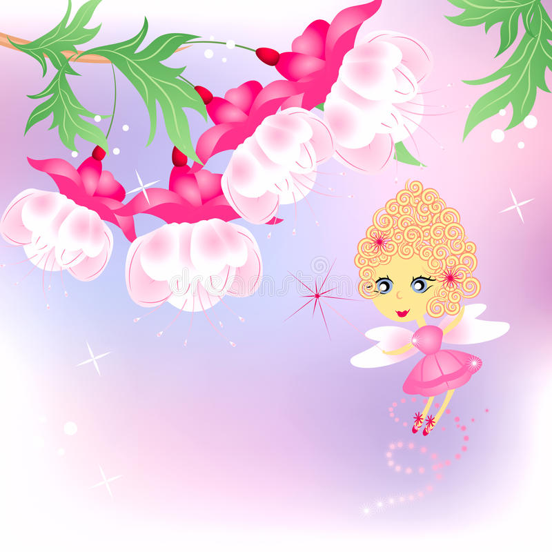 Pink fairy with flowers. On abstract background stock illustration