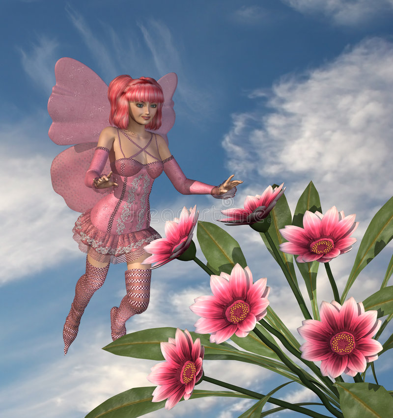 Pink Fairy with Flowers. 3D render of a pink fairy enjoying some Gazania flowers. All elements by me royalty free illustration